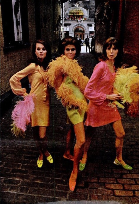 Dale Fahey, Birgitta, and Renée Roberts in Betsey Johnson neon satins (Golo sandals) photographed by Howell Conant, 1966