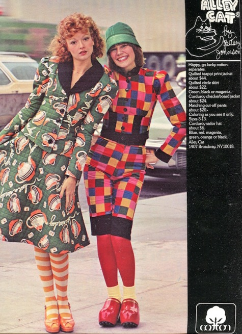 Cotton ad feat. Alley Cat by Betsey Johnson in Seventeen magazine, August 1973