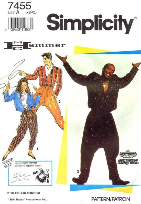 Hammer time! 1990s official unisex MC Hammer pants pattern Simplicity 7455