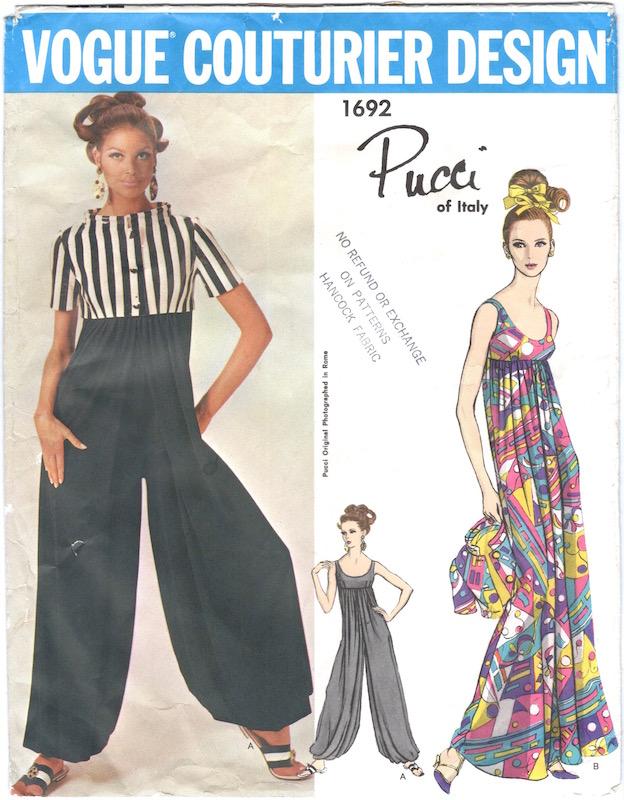 1960s Pucci palazzo pyjamas and jacket pattern Vogue 1692 feat. Editha Dussler
