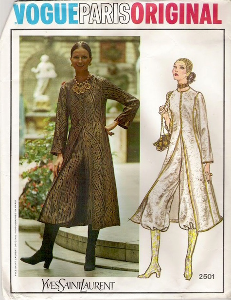 1970s Yves Saint Laurent haute couture coat and knickers pattern Vogue 2501