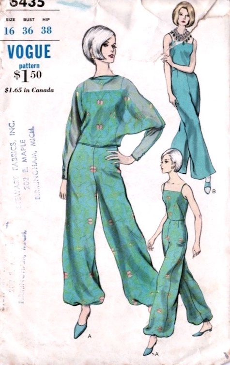 1960s pyjama and overblouse pattern Vogue 6435