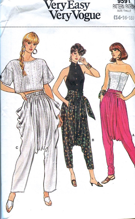 1980s Zouave dropped-crotch pants pattern Very Easy Very Vogue 9591