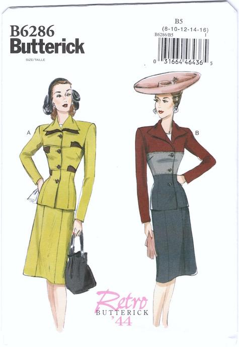 1940s colour-blocked suit pattern Retro Butterick 6286