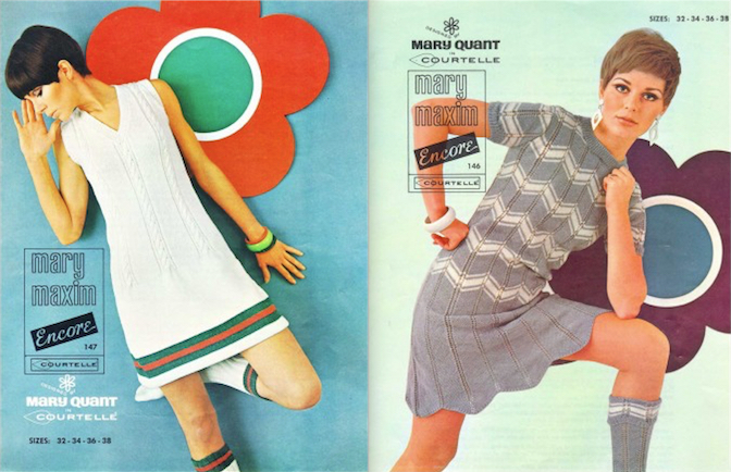 1960s Patons Courtelle knitting patterns by Mary Quant