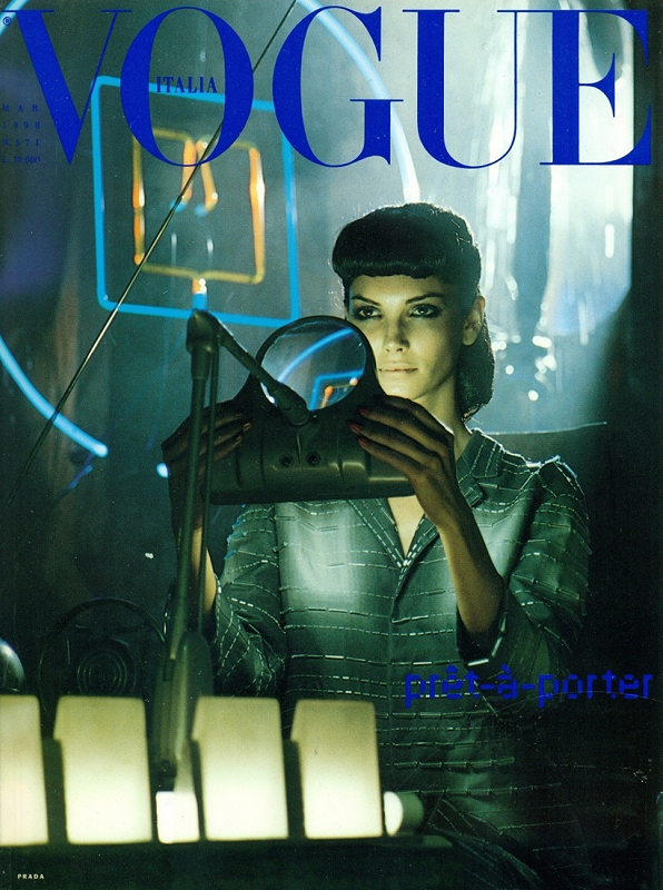 Blade Runner-inspired Vogue Italia cover photographed by Steven Meisel, March 1998