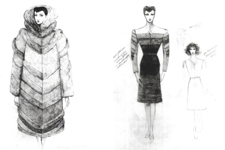 Rachael's fur coat and pieced suit - Blade Runner sketches by Michael Kaplan