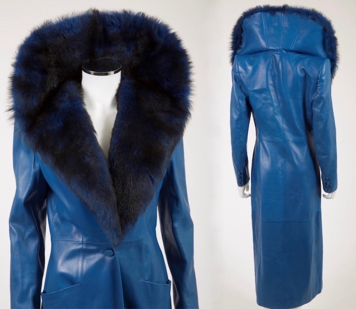 Blue leather coat with standing fur collar, Alexander McQueen for Givenchy, Fall 1998 rtw