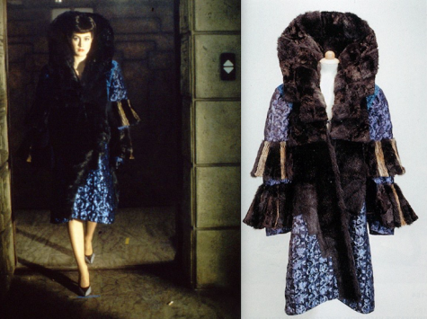 Rachael's fur-trimmed blue brocade coat in Blade Runner (1982)