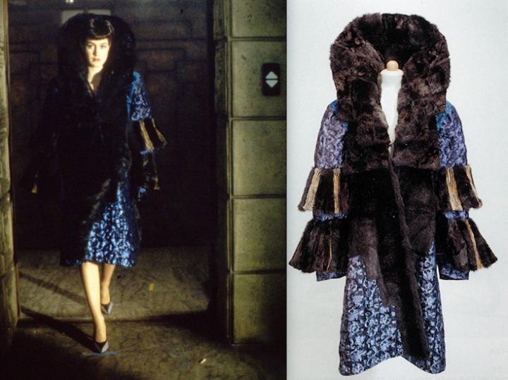 Rachael's fur-trimmed blue brocade coat in Blade Runner (1982)