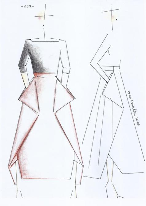 Paco Peralta sketch for Vogue 1567 top and skirt pattern