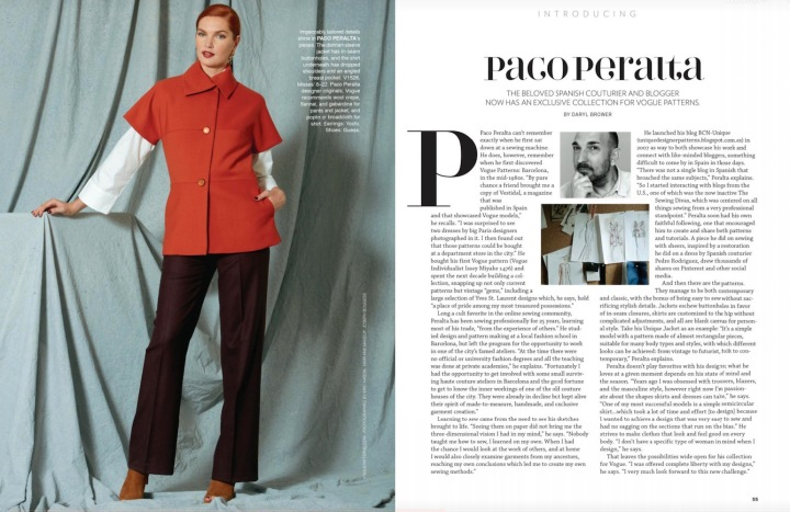 Paco Peralta feature in Vogue Patterns magazine, Dec/Jan 2016-17