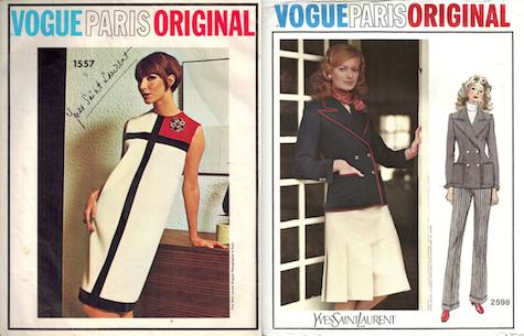 Yves Saint Laurent Vogue patterns: Vogue 1557 Mondrian dress; Vogue 2598 suit 1971