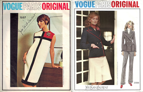 Yves Saint Laurent Vogue patterns: Vogue 1557 Mondrian dress; Vogue 2598 suit 1971