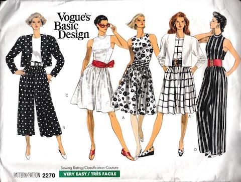 Late 1980s culotte jumpsuit and jacket pattern Vogue Basic Design 2270