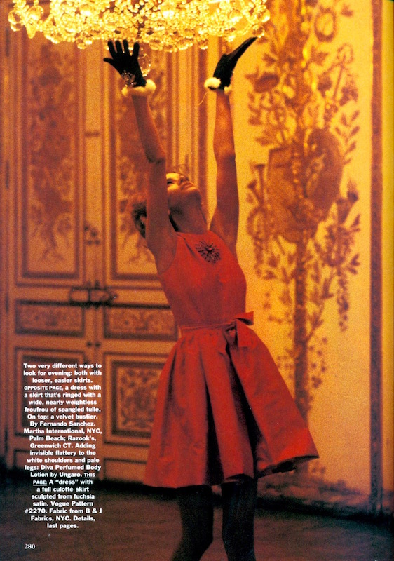 V2270 culotte dress photographed by Ellen von Unwerth, Vogue December 1990