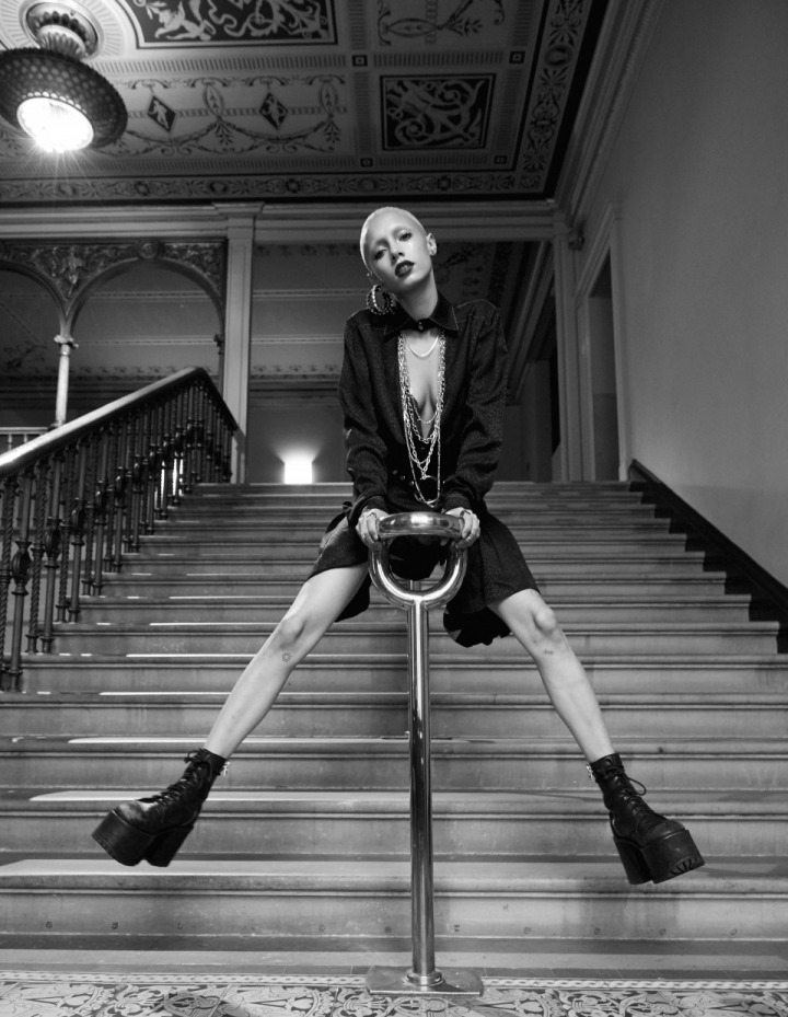 At the V&A in the Alyx pleat dress. Photo: Britt Lloyd. Model: Jazzelle Zanaughtti