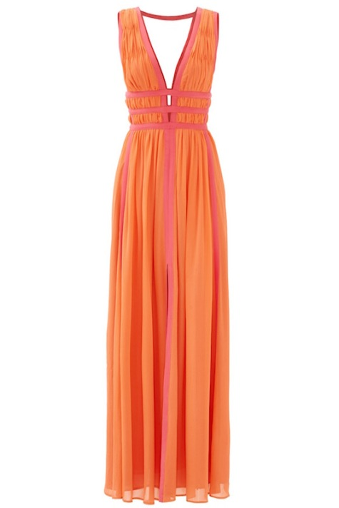 Nicole Miller's Gladiator gown in orange silk chiffon with pink trim