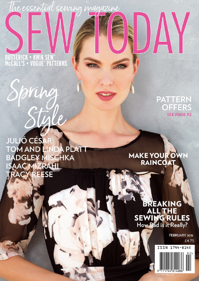 Ana Kondratjeva wears Tracy Reese on the cover of Sew Today, February 2018