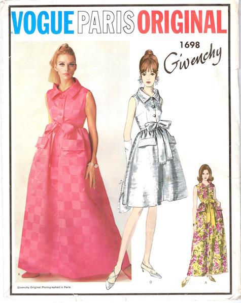 1960s Givenchy evening dress pattern feat. Jill Kennington - Vogue Paris Original 1698