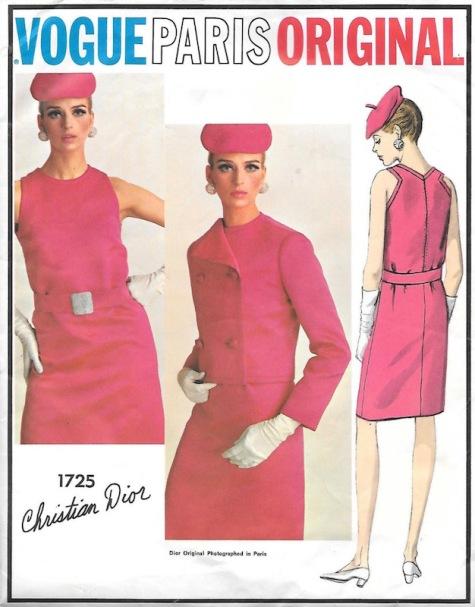 1960s Marc Bohan for Dior cerise dress suit pattern Vogue Paris Original 1725