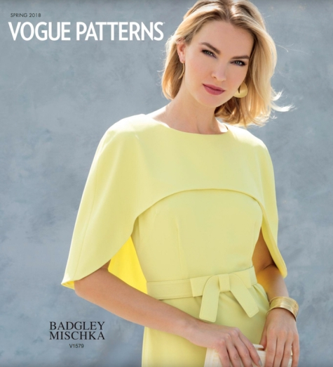 Badgley Mischka Key Lime cape dress V1579 - Vogue Patterns Spring 2018 lookbook