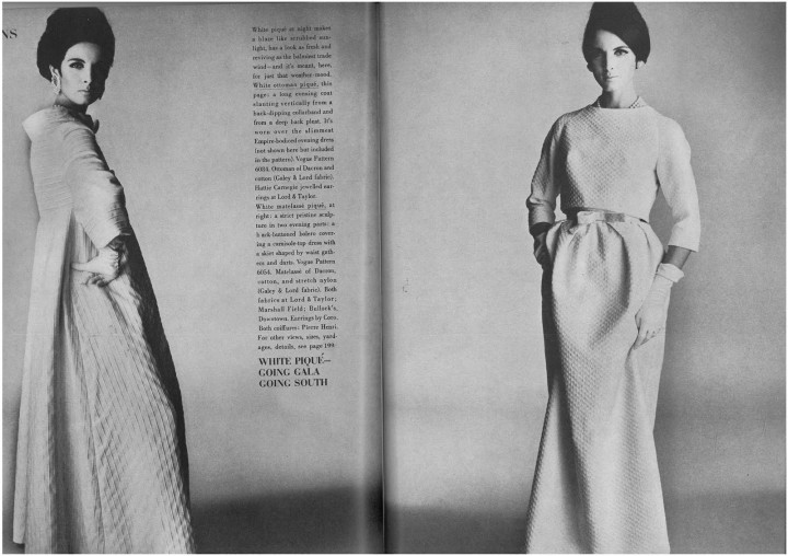 Vogue 6084 and 6054 as worn by Mirella Petteni in Vogue, 1963