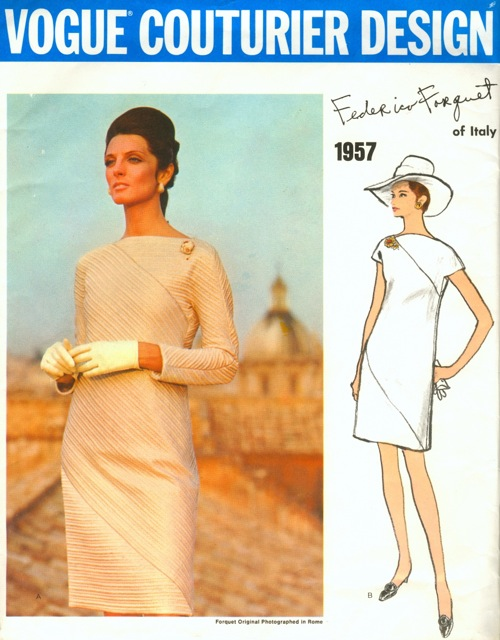 1960s Forquet dress pattern feat. Mirella Petteni Haggiag - Vogue Couturier Design 1957