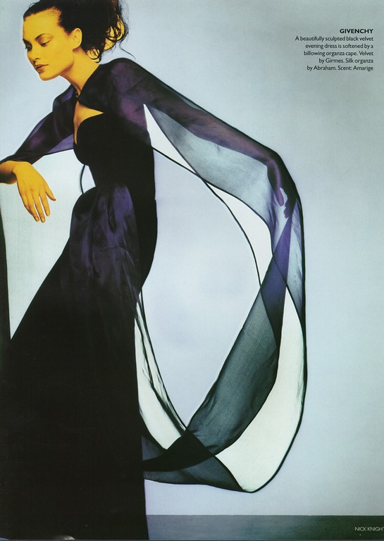 """Couture in Colour"": Shalom Harlow in a velvet and organza gown from Hubert de Givenchy's final couture collection (FW 1995)"