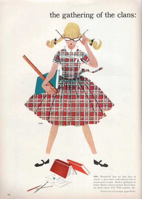 The Gathering of the Clans, vintage tartan girl's dress pattern McCall's 2083 by illustrator Sydelle Hall