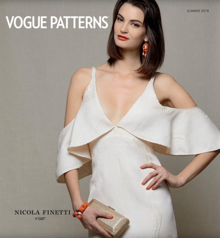V1587 by Nicola Finetti on the cover of the Vogue Patterns lookbook, Summer 2018