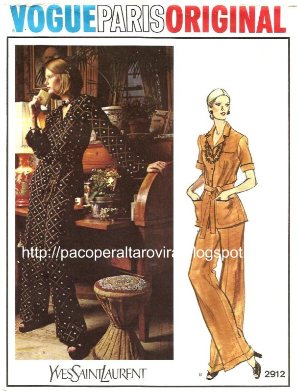 Yves Saint Laurent Spring 1973 haute couture printed pyjama pattern - Vogue Paris Original 2912