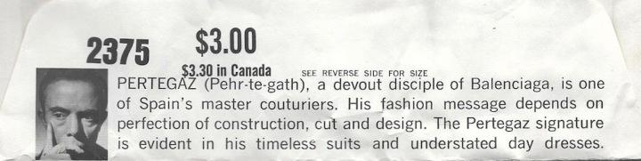PERTEGAZ biography - Vogue 2375 envelope flap