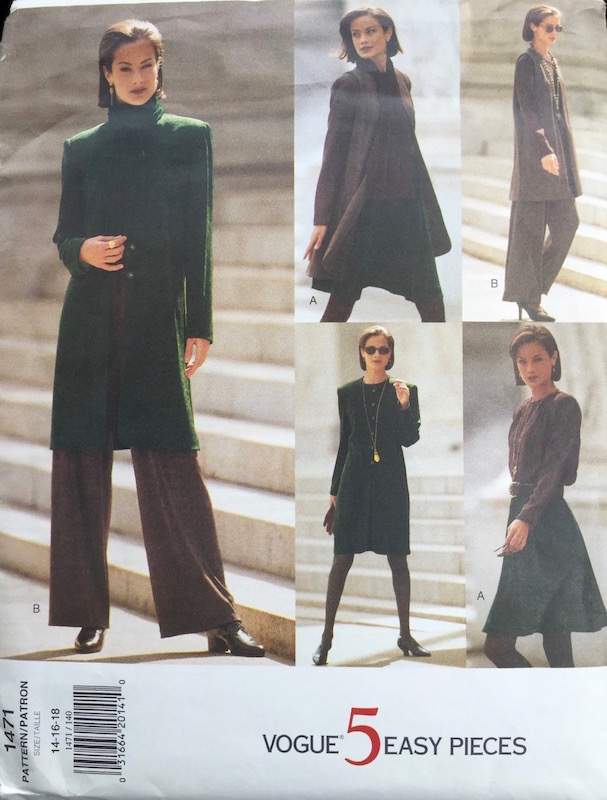 1990s 5 Easy Pieces pattern feat. Carolyn Murphy - Vogue 1471