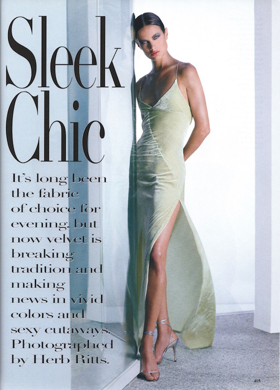 """""""The softness of pale-green velvet takes on an unexpected sexiness when it's slit thigh-high. Dress with spaghetti straps, Vogue Pattern #1965. Fabric from Elegant Fabrics, NYC."""" Herb Ritts/Brana Wolf"""