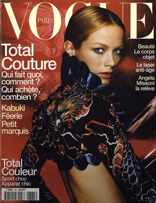 Carolyn Murphy photographed by Mario Testino in Spring 1998 Givenchy Couture by Alexander McQueen, Vogue Paris March 1998 cover