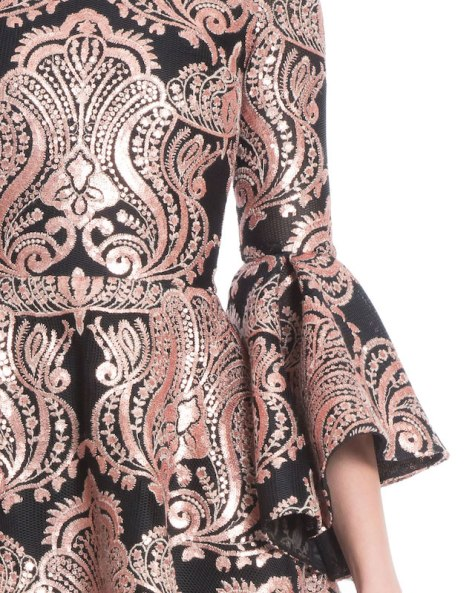 Detail, bell sleeve brocade cocktail dress by Badgley Mischka