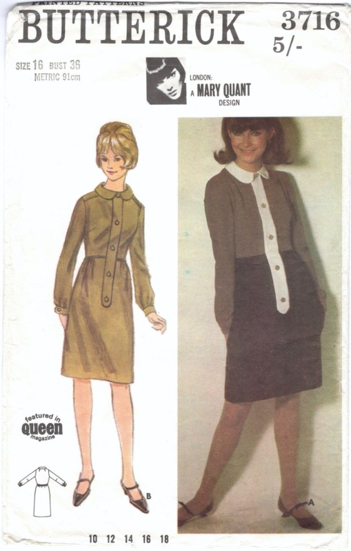 1960s Mary Quant dress pattern Butterick 3716