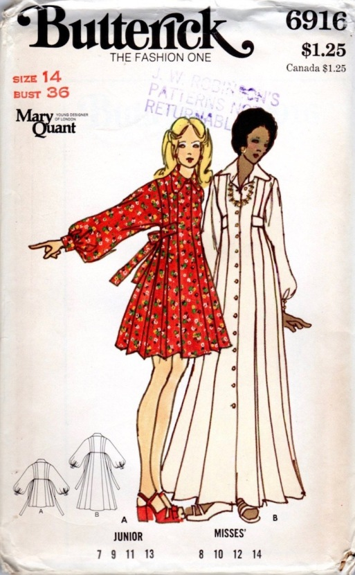1970s Mary Quant dress pattern Butterick 6916