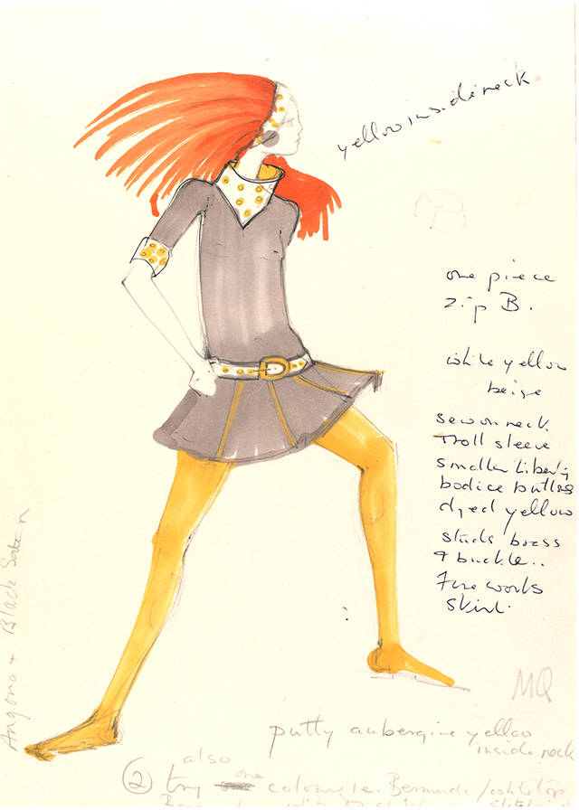 Design for a cowl neck minidress with mustard yellow tights by Mary Quant, about 1967, London. Museum no. E.525-1975. © Victoria and Albert Museum, London