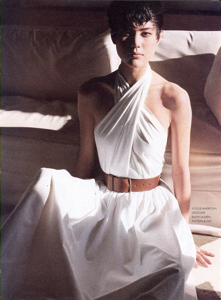 Ariane Koizumi photographed by Elisabeth Novick in Vogue 1547 by Ralph Lauren, 1985