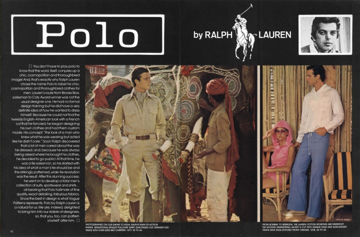 1970s Polo Ralph Lauren men's patterns Vogue 1237 and 1238 spring 1975 photographed by Steve Horn