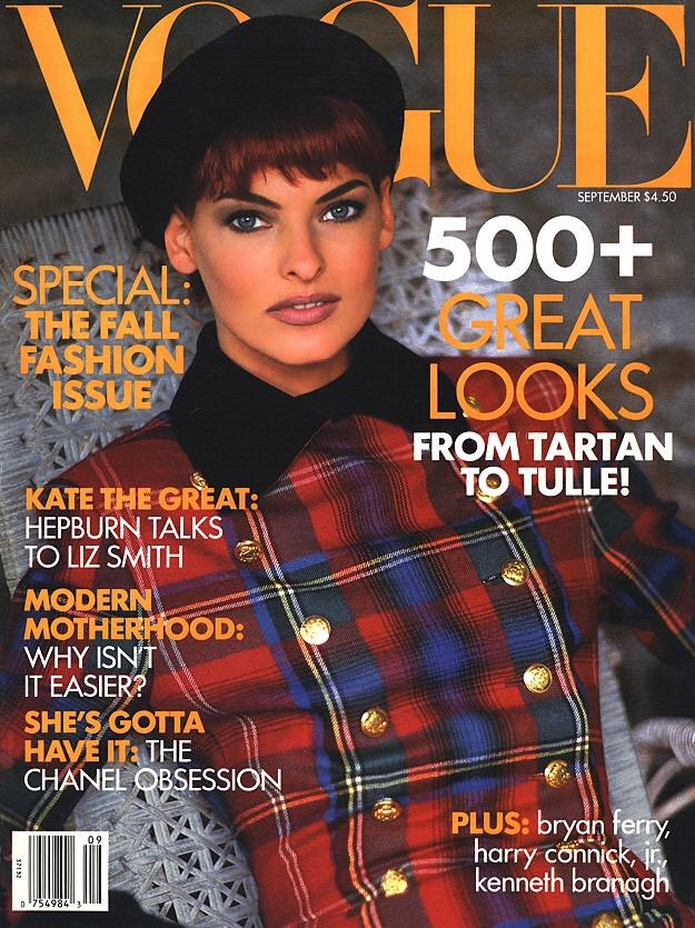 Linda Evangelista in Ralph Lauren, Vogue, September 1991