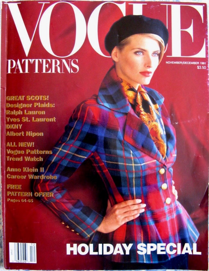 VPM NovDec1991 Great Scot! Ralph Lauren embraces the youthful spirit of tartans to balance the bold shape of a fit and flare jacket. Wear it with his elegant slim pant to create the season's perfect ensemble
