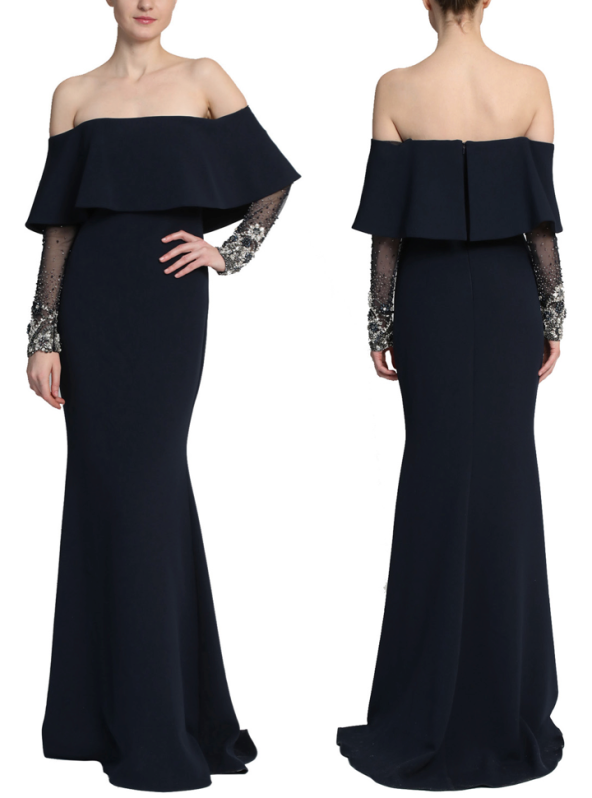 Navy beaded sleeve popover gown, Badgley Mischka Fall 2018