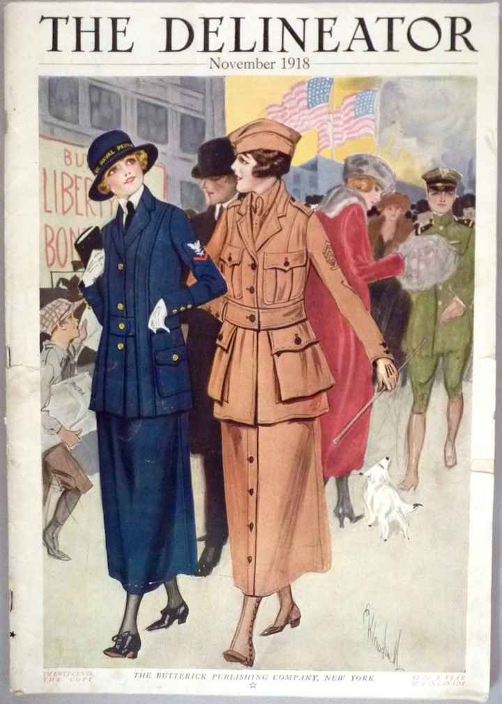 Illustration of women in uniform on the cover of Butterick magazine The Delineator, November 1918