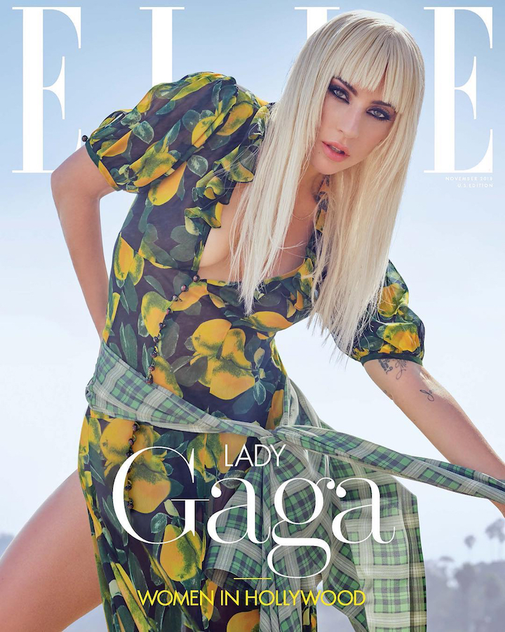 Lady Gaga photographed by Ruth Hogben and Andrea Gelardin (Lobster Eye) in Marc Jacobs' grunge reissue, Elle, November 2018. Stylist: Nicola Formichetti.