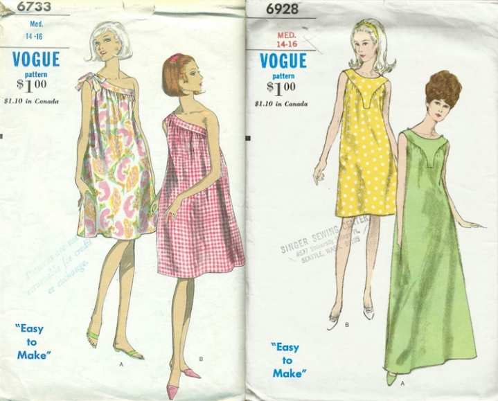 Vogue 6733 and Vogue 6928: 2 patterns worn by Lauren Hutton in Vogue, July 1966