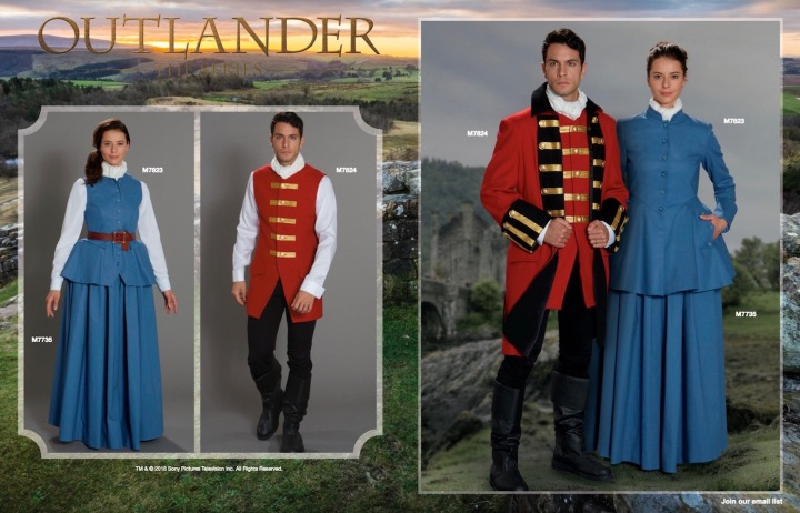 Outlander costumes M7823 and redcoat uniform M7824 in McCall's Early Fall 2018 lookbook