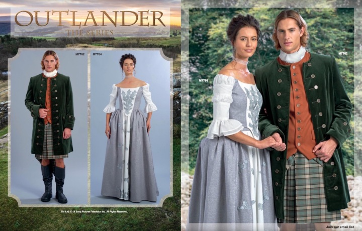 Outlander costumes M7762 and M7764 in McCall's Spring 2018 lookbook
